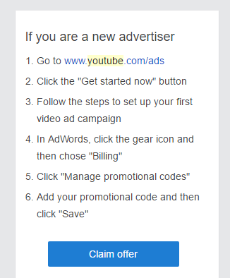 youtube advert coupon email