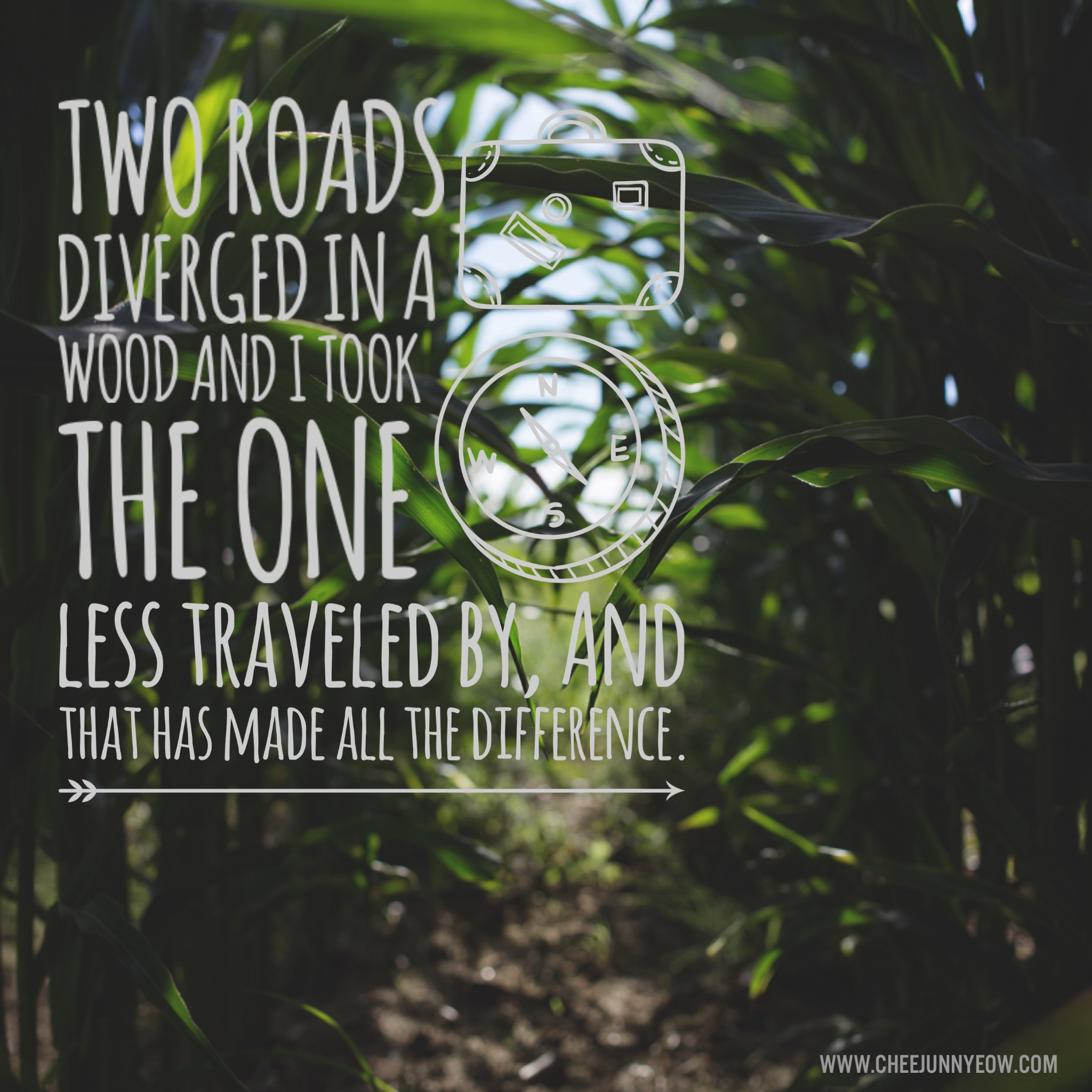 two roads diverged in a wood and I took the one less traveled by and that has made all the difference