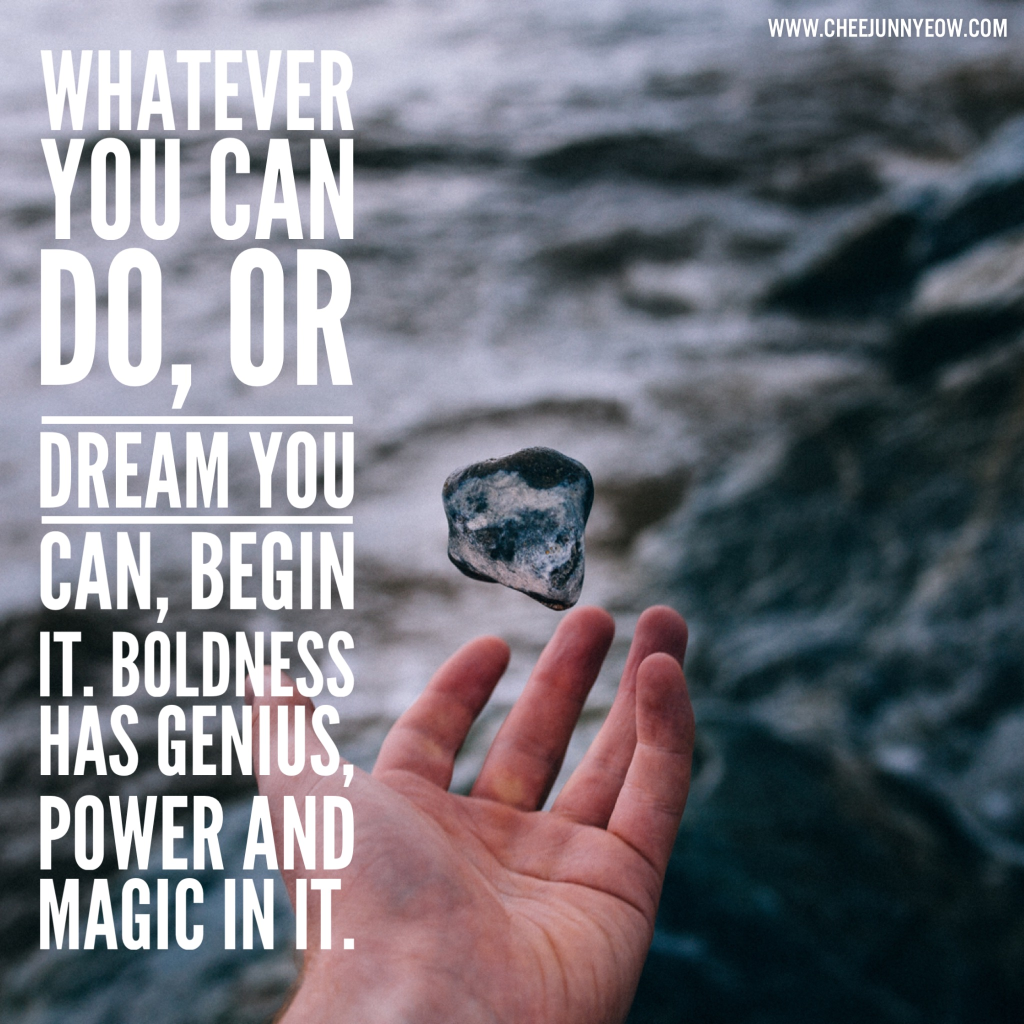 whatever you can do or dream you can begin it. boldness has genius, power and magic in it