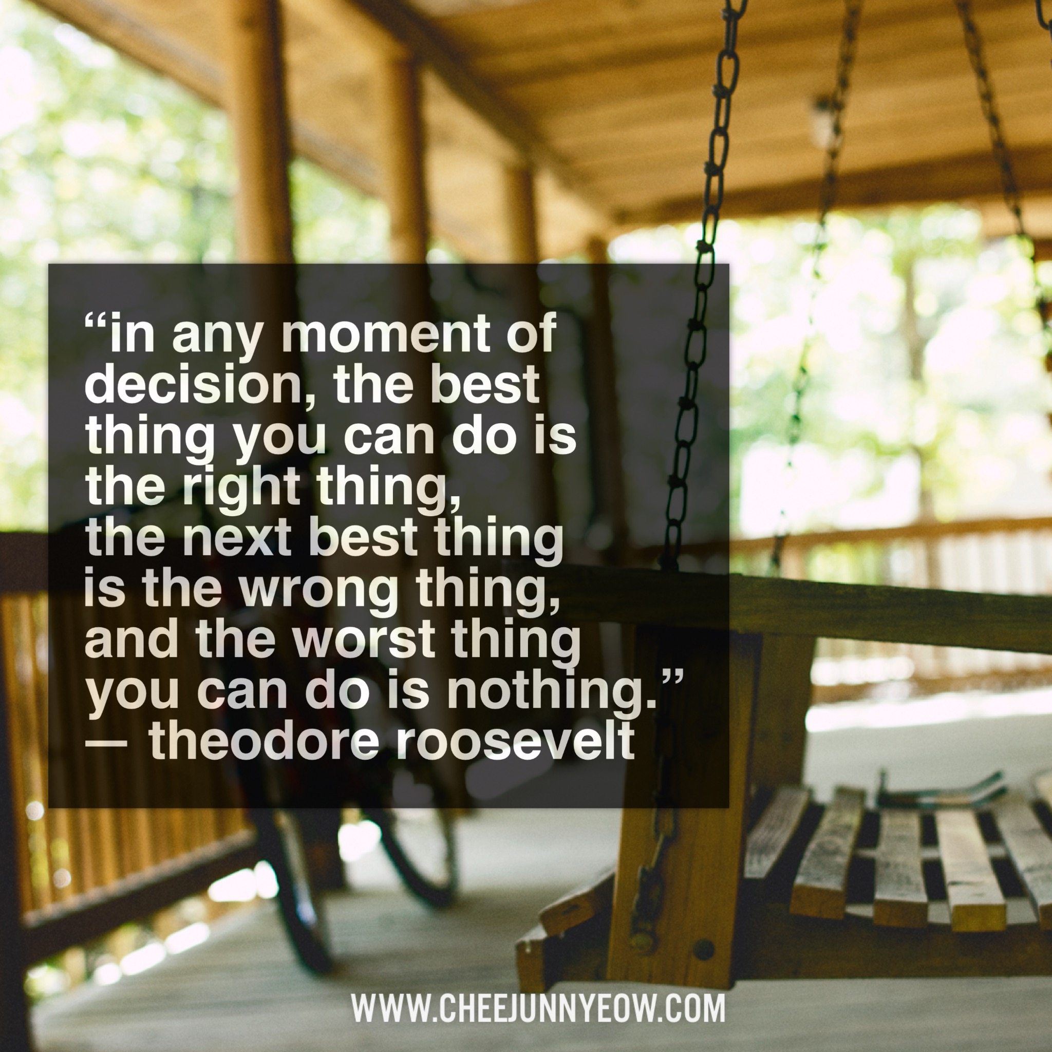 in any moment of decision, the best thing you can is the right thing.