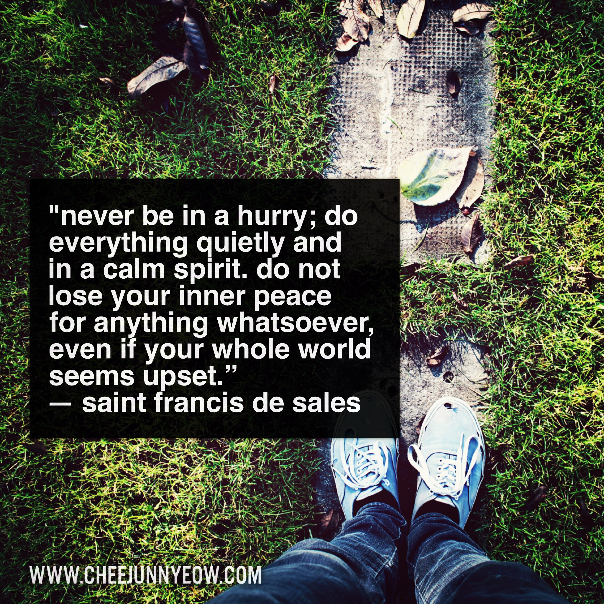 never be in a hurry, do everything quietly and in calm spirit. so not lose your inner peace for anything whatsoever
