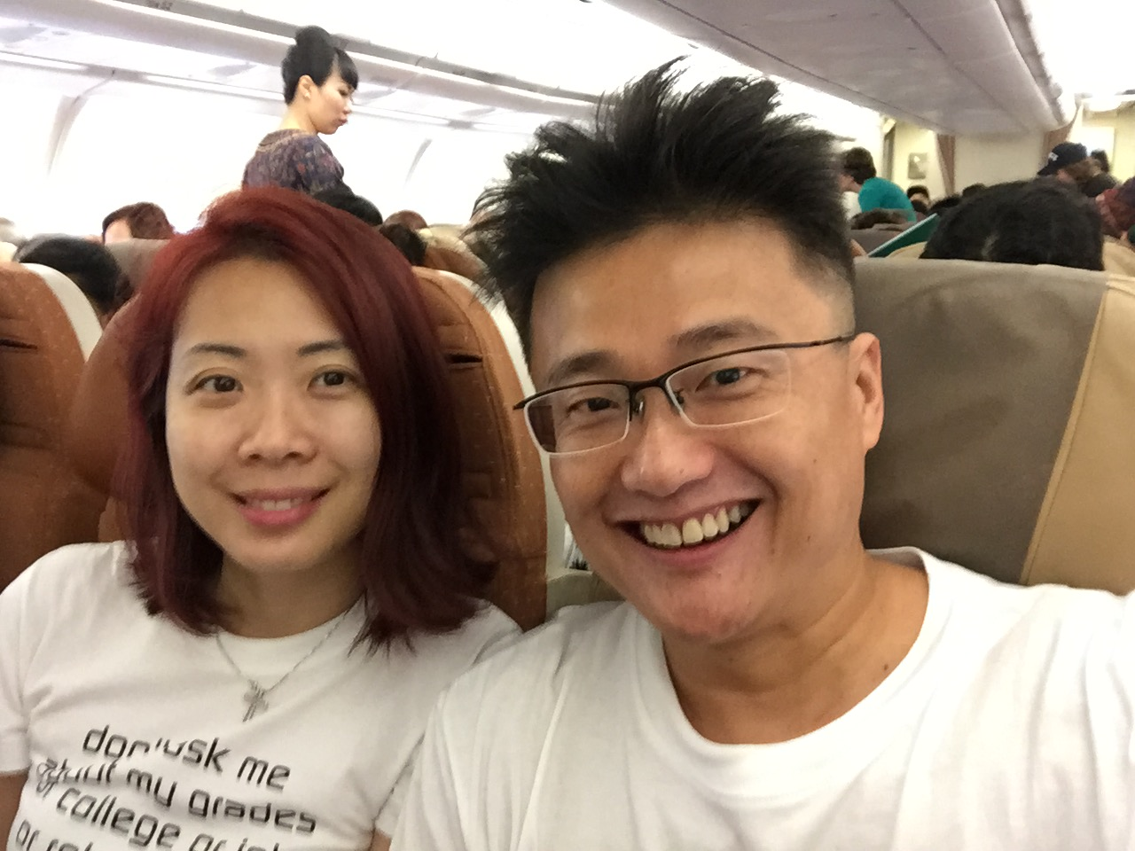 settling into our flight to Seoul on SQ600