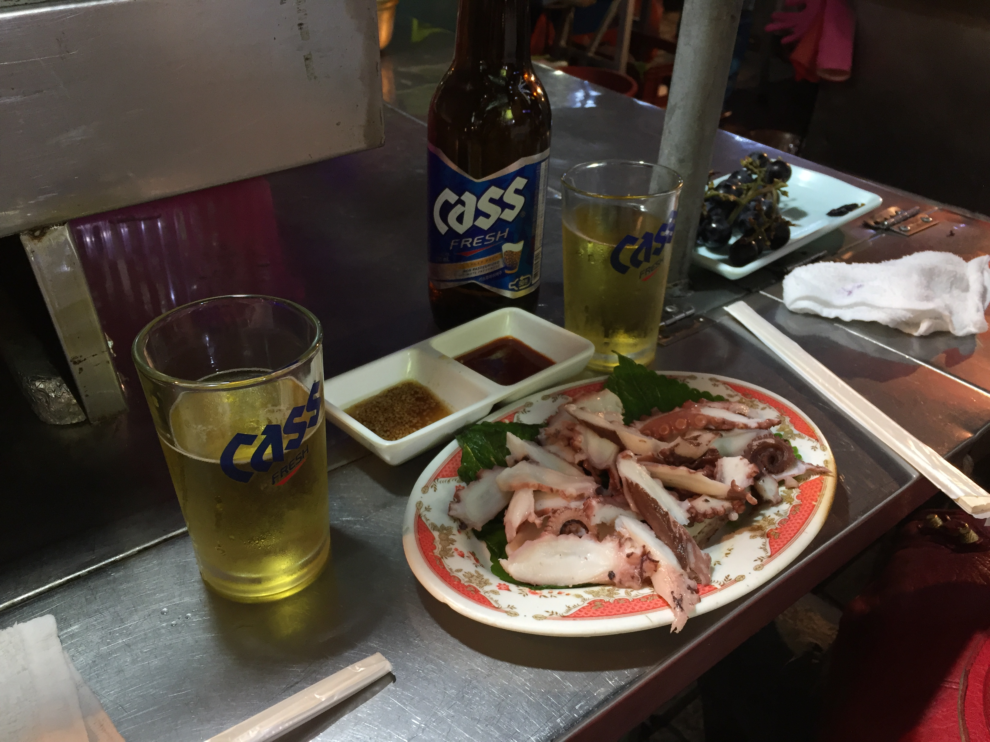 beer with bbq squid